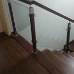schody dąb balustrada szklana
