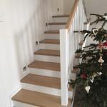 schody drewniane dąb bielony